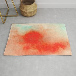 Abstract Watercolor Minimalist Rust Series - Untitled II orange turquoise marble Rug