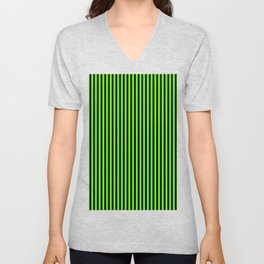 Striped black and light green background Unisex V-Neck