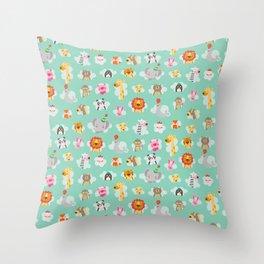 Animal train Throw Pillow
