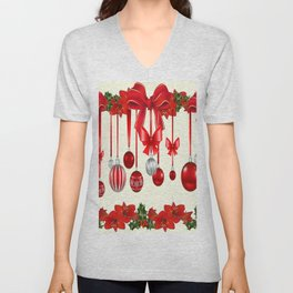 DECORATIVE RED CHRISTMAS ORNAMENTS &  HOLLY BERRIES  ART Unisex V-Neck