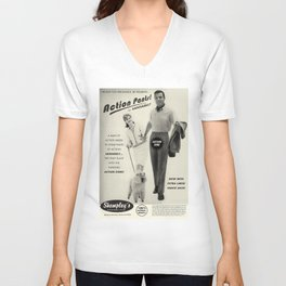 Action Pants now with extra large snack sack! Man of Action Action Zone! Unisex V-Neck