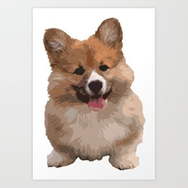 Cute Fluffy Corgi Dog Art Print
