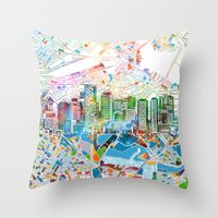 boston map Throw Pillows featuring boston city skyline map by Bekim ART