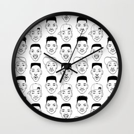 Heads - Will (B&W) Wall Clock