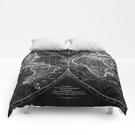 Black and White World Map (1795) Inverse Comforters