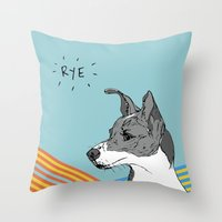catcher in the rye Throw Pillows featuring Rye Pillow by sylvieceres
