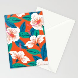 White hibiscus Stationery Cards