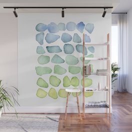 Blue Ombre Sea Glass Watercolor Wall Mural