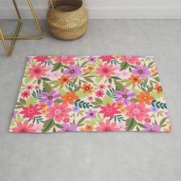 Gentle floral pattern. Colorful flowers. Rug