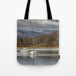 Windermere lakes and boats landscape Tote Bag