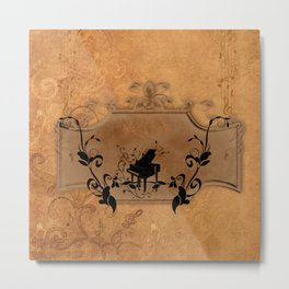 Music, piano with floral elements on vintage background Metal Print