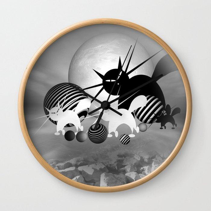 dreaming of mooncats bw -4- Wall Clock
