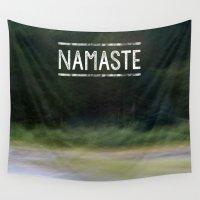 namaste Wall Tapestries featuring Namaste by Angela Fanton