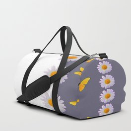 WHITE DAISIES & SPRING BUTTERFLIES & WHITE-GREY ART Duffle Bag