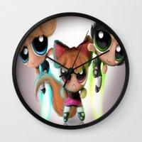 powerpuff girls Wall Clocks featuring Powerpuff Girls by A.D.A. Apparel