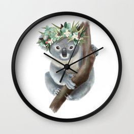 Koala Cuddles Wall Clock
