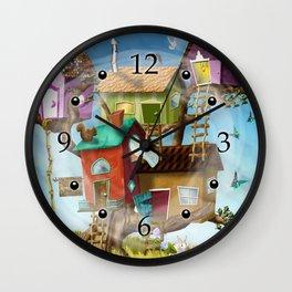 Home Sweet Tiny Tree Houses Wall Clock