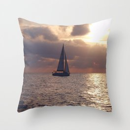 Yacht At Dusk Throw Pillow