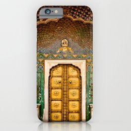 Rose gate door in pink city at City Palace of Jaipur, India iPhone Case