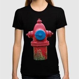Red and Blue Traverse City Iron Works Fire Hydrant Final Model Fire Plug T-shirt