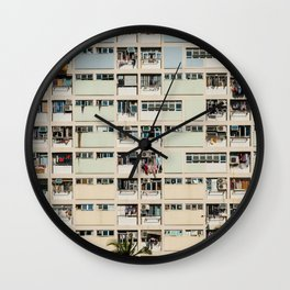 Colorful building Facade in Hong Kong - pastel color - Basketball court, Hongkong Wall Clock
