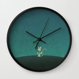 Small winged polka-dotted beige cat Wall Clock