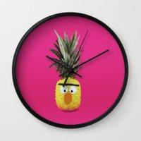 sesame street Wall Clocks featuring Bert - Sesame Street Pineapple by SandraSuarez
