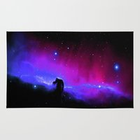 nebula Area & Throw Rugs featuring nEbulA : Horsehead Nebula Fuchsia & Violet by 2sweet4words Designs