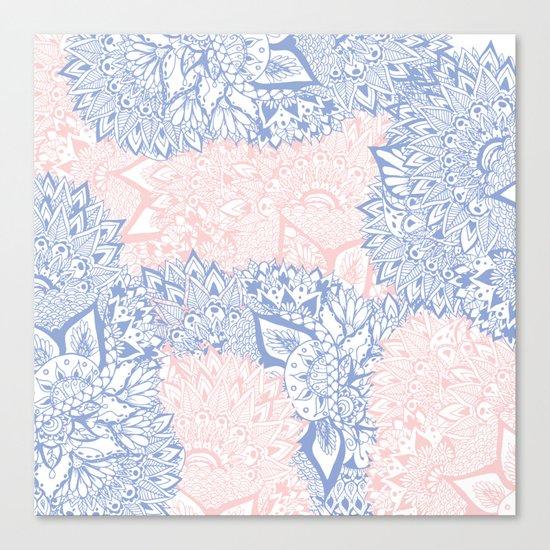 Modern pink rose quartz serenity blue mandala floral illustration Canvas Print