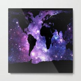world map. : Galaxy Map Purple Blue Metal Print