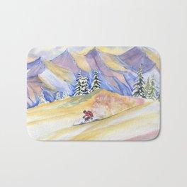 Powder Skiing Art Bath Mat