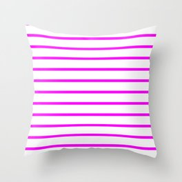 Horizontal Lines (Fuchsia/White) Throw Pillow