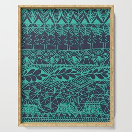 Mountain Tapestry in Midnight Teal Serving Tray