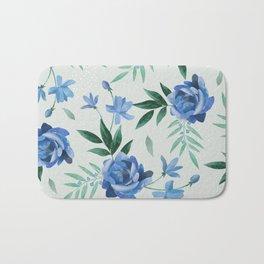 Paper-cut floral denim Bath Mat