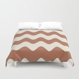 Cavern Clay SW 7701 and Creamy Off White SW7012 Wavy Horizontal Rippled Stripes Duvet Cover