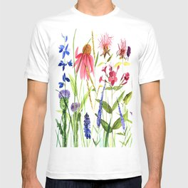 Botanical Colorful Flower Wildflower Watercolor Illustration T-shirt