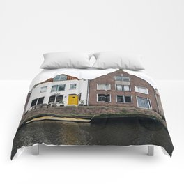 Row houses and Canal in The Netherlands Comforters