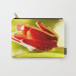 Glowing Red Tulip On A Vivid Green Background #decor #society6 Carry-All Pouch