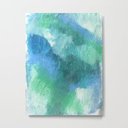 Blue Green Abstract Painting Metal Print