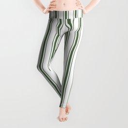 Large Dark Forest Green and White Mattress Ticking Stripes Leggings