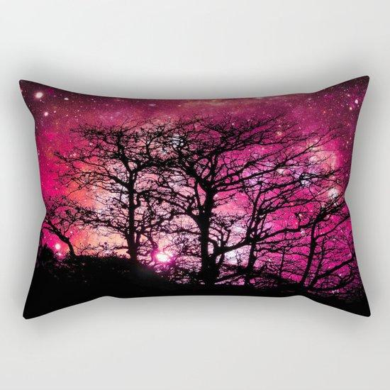 Black Trees Coral Pink Space Rectangular Pillow