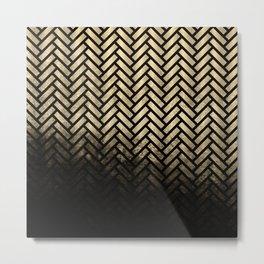 Textured gold and black Herringbone ombre - Japanese pattern Metal Print