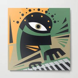Abstract Jazz Concept, Piano Player, Music pop art Metal Print