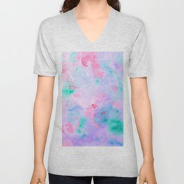 Watercolor Abstract Landscape Pattern Blue Purple Unisex V-Neck