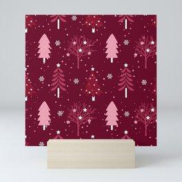 Santas Workshop Christmas Trees Burgandy Christmas Mini Art Print