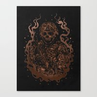 military Canvas Prints featuring Military skull by barmalisiRTB