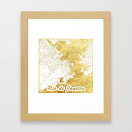 Rio de Janerio Map Gold Framed Art Print