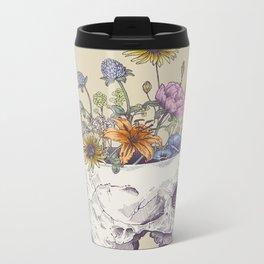 Half Skull Flowers Metal Travel Mug