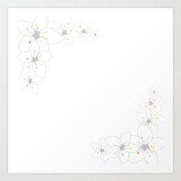 White sakura flowers Art Print