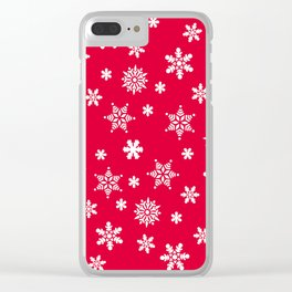 Snow Flurries-Christmassy Red Clear iPhone Case